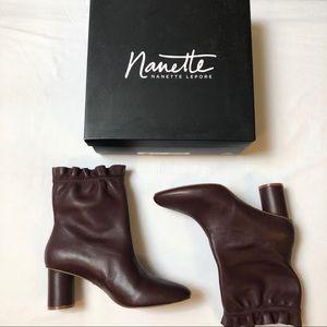 Leather Boots Booties Nanette Lepore sz9 Plum